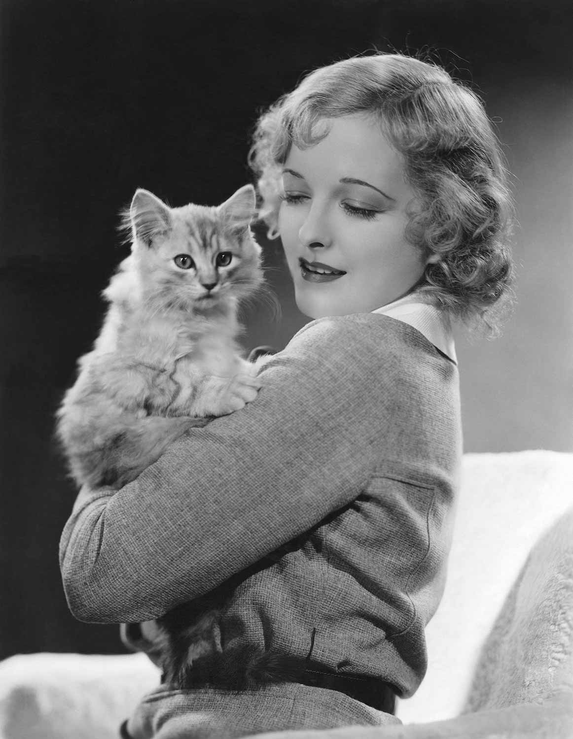 Vintage picture of Woman and a Cat